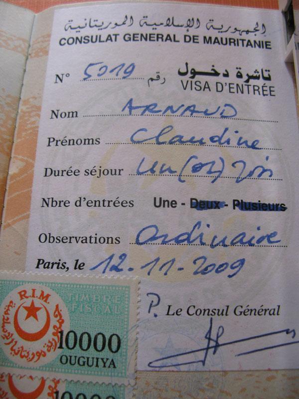 visa mauritanie
